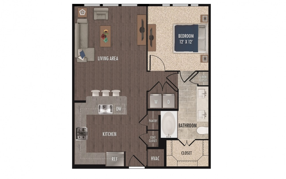 A4a - 1 bedroom floorplan layout with 1 bath and 811 square feet.