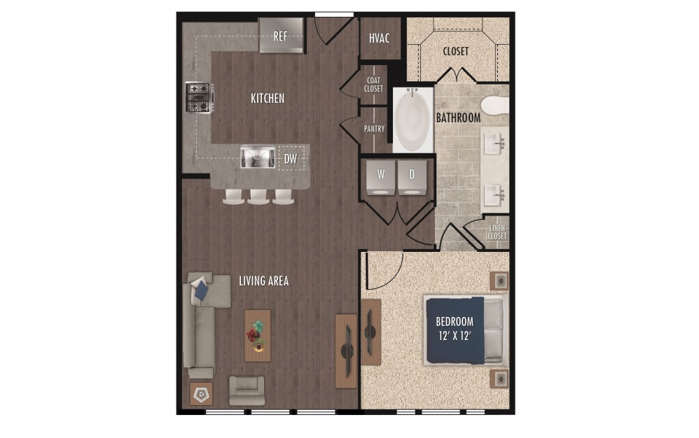 A4b - 1 bedroom floorplan layout with 1 bath and 811 square feet.