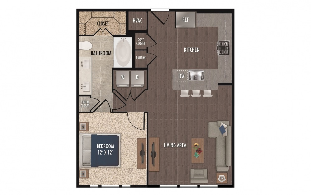A5a - 1 bedroom floorplan layout with 1 bath and 803 square feet.