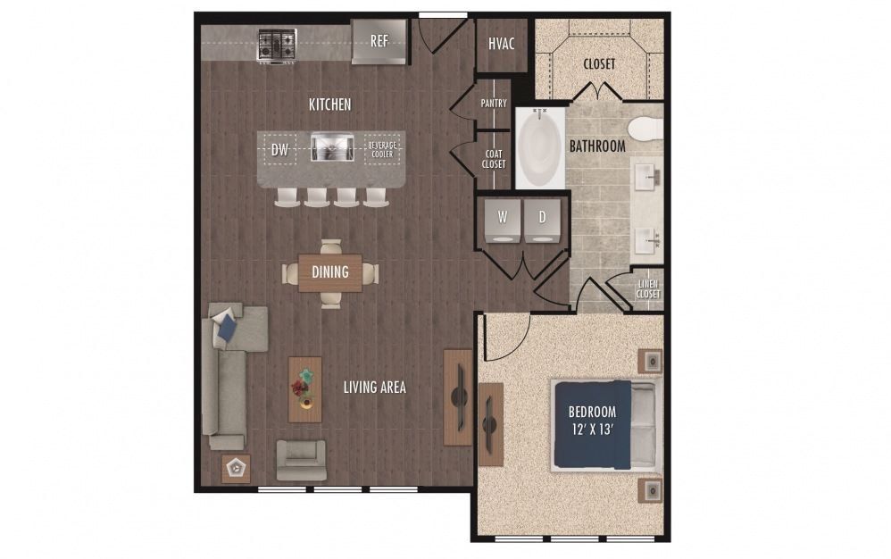 A9a - 1 bedroom floorplan layout with 1 bath and 903 square feet.