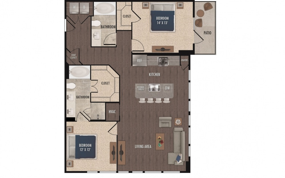 B3 - 2 bedroom floorplan layout with 2 baths and 1234 square feet.