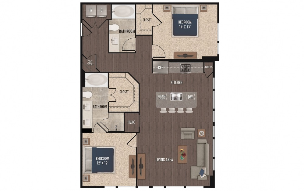 B3a - 2 bedroom floorplan layout with 2 baths and 1234 square feet.